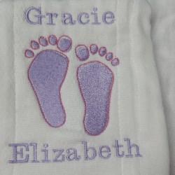 Gracie Feet Burp Cloth
